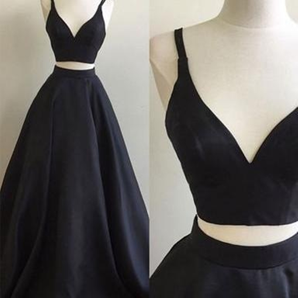 Black 2 Piece Wedding Party   Dresses   2019 Spaghetti Strap Puffy Satin Long   Bridesmaid     Dress   High Quality Women Formal Gowns
