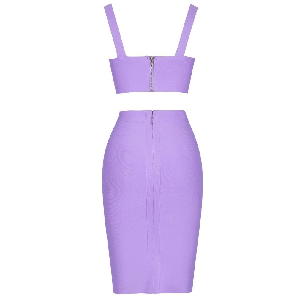 Image 5 - Deer Lady Bandage Party Dresses 2019 Crop Top And Purple 2 Piece  Bandage Set Bodycon Sexy Celebrity Bandage Dress Mini ClubDresses   -