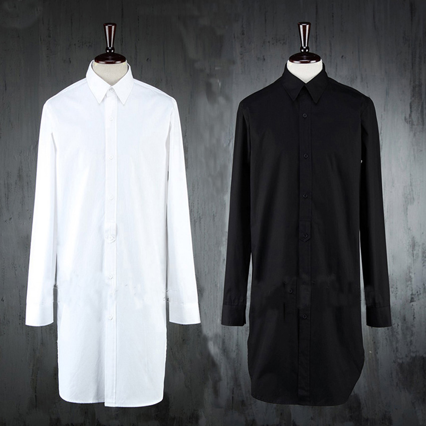 New Designer Extended Shirt Men S Long Pure White Black