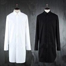 New Designer Long Extended Men's Shirt Pure White Black Casual Shirts Punk Fashion Cotton Brand Slim Fit Shirts