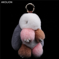 Akolion أعلى جودة الأرنب المفاتيح قلادة رقيق الأرنب pompom فرو الأرنب لعبة حقيبة فتنة مفتاح السيارة حلقة المفاتيح