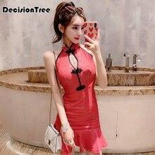 Сексуальное женское вечернее платье с глубоким высоким воротом без рукавов cheongsam полной длины с высоким разрезом однотонное китайское платье Ципао