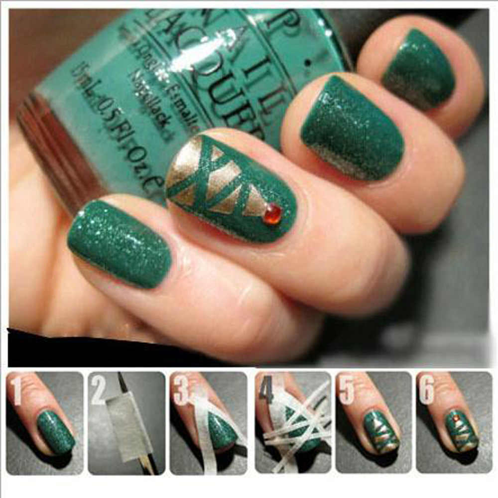 5 pzas/unids/lote pegatinas de cinta de uñas puntas de Arte de uñas cinta de enmascarar hacer patrón de herramientas de manicura decoración de uñas manicura francesa 9,5*0,5 cm