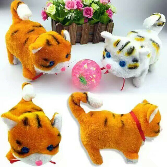 Whole sale new cute electric plush cat toy luminous kitty cat light eyes walking action figures
