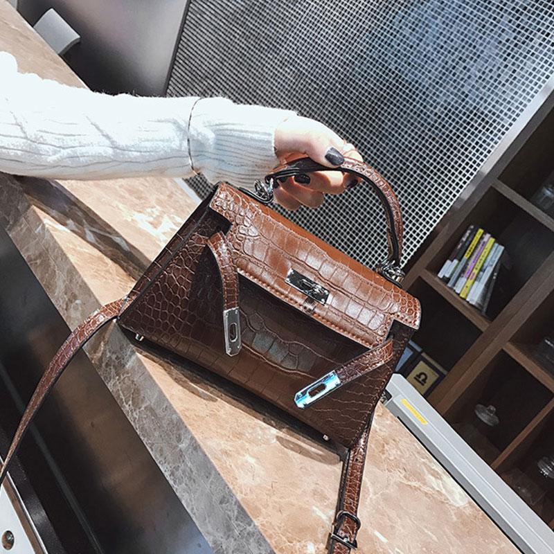 Piccolo Donne Dell'unità Spalla Bag Stampe Il Del Tonny Le Crossbody Kizz rosso Borsa Sac Nero Bolsa Borse Sacchetto Messenger Cuoio Di Elaborazione À Per Coccodrillo Della Main brown T505fwq