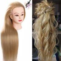 Synthetische Mannequin Kopf Puppen für Friseure 80 cm lange haar Frisuren Weibliche Friseur Styling Training Kopf blonde