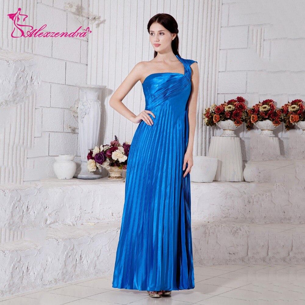 Alexzendra bleu taille haute une épaule Simple enceinte une ligne robes de bal robe de soirée robe de soirée personnaliser