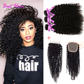 Mongolian Kinky Curly Hair With Closure 3 Pcs Afro Kinky Curly Hair With Lace Closure Kinky Curly Virgin Hair Weave With Closure