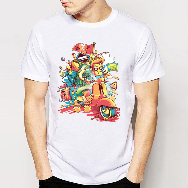 Ray oak band brand summer men tees cool vespa scooter for Good t shirts brands
