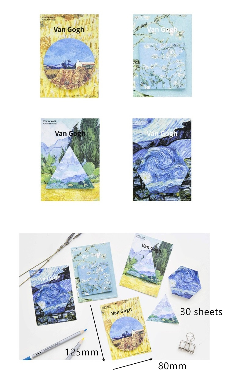 4 pcs Van Gogh memo pads and sticky notes The Starry night post guestbook stickers Stationery Office School supplies F763