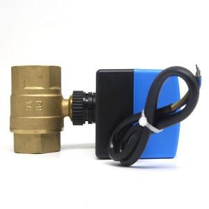 Image 4 - AC220V 2 way 3 wires electric actuator brass ball valve,Cold&hot water vapor/heat gas brass motorized ball valve