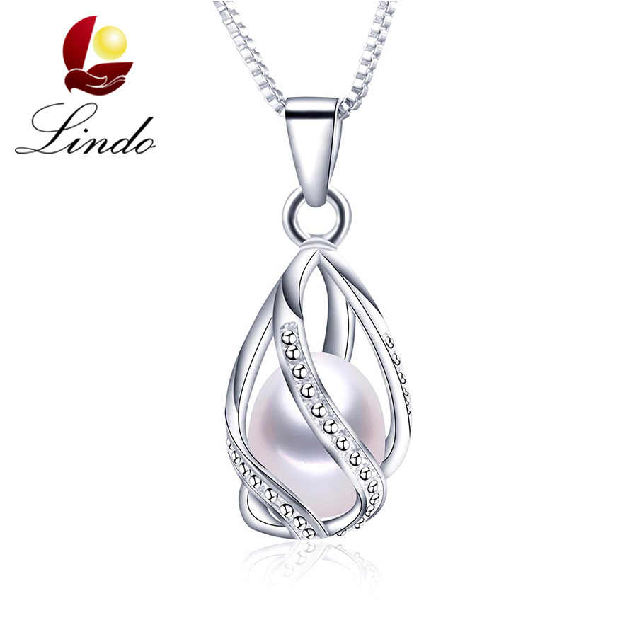 High Quality Sterling Silver Cage Pendant For Pearls Women Fashion 100% Natural Freshwater Pearl Necklace Real Pearl With Box