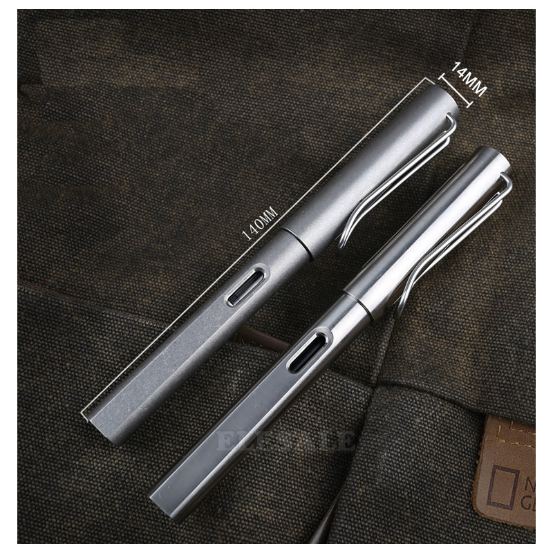Closeout DealsHigh-End 2-IN-1 Titanium TC4 Tactical Fountain Pen Self Defense Business Writing Pen Outdoor EDC Tool Christmas Gift