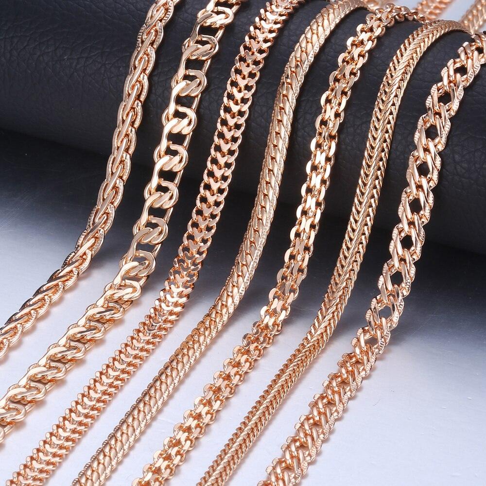 Personalize Necklace Men 585 Rose Gold Venitian Curb Snail Foxtail Link Chains Necklace Jewelry 50cm 60cm CNN1