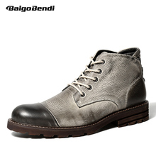 Hight Quailty Two Tone Mens Genuine Leather Lace Up Round Toe Work Safety Martin Ridding Boots Casual Desert Boots  цена 2017