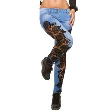 b691bf57cb0 SHUJIN Vintage alta cintura Jeans mujeres flor Sexy Crochet Lace Patchwork  Denim Hollow Out Delgado negro