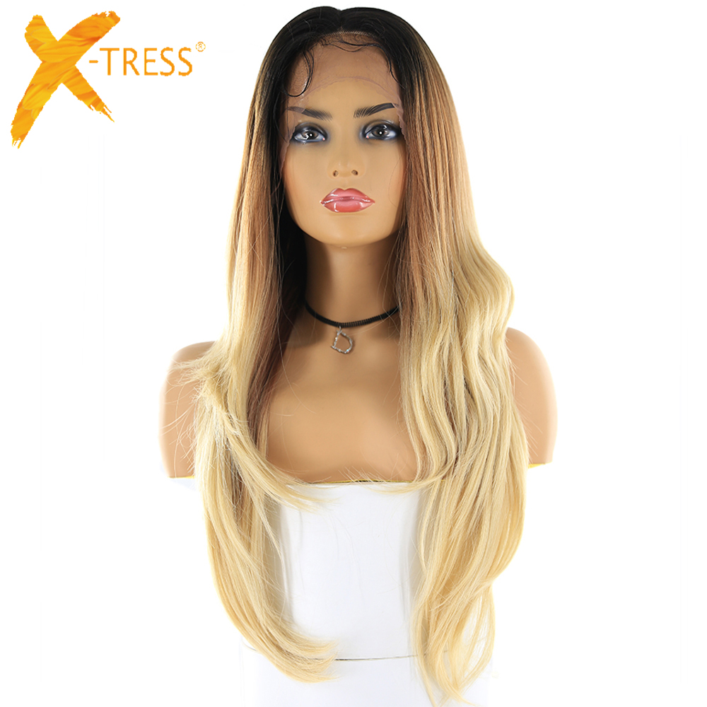 Ombre Blonde Color Synthetic Hair Wigs Free Part 26inch Long Wavy Lace Front Wig With Baby Hair Heat Resistant Fiber Hairpiece