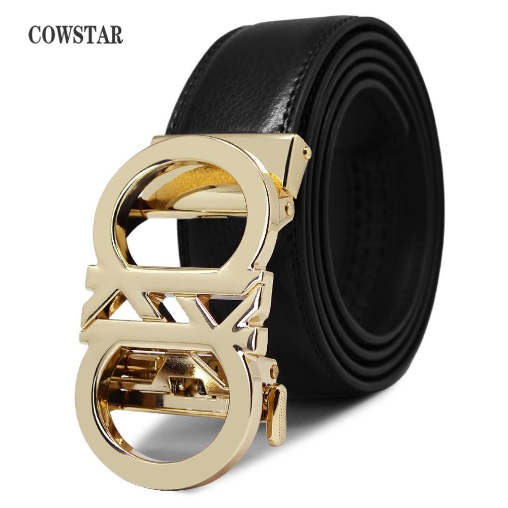 Men Belt Automatic Buckle Cinturon COWSTAR Male Genuine-Leather Fashion Brand Strap Top-Quality title=