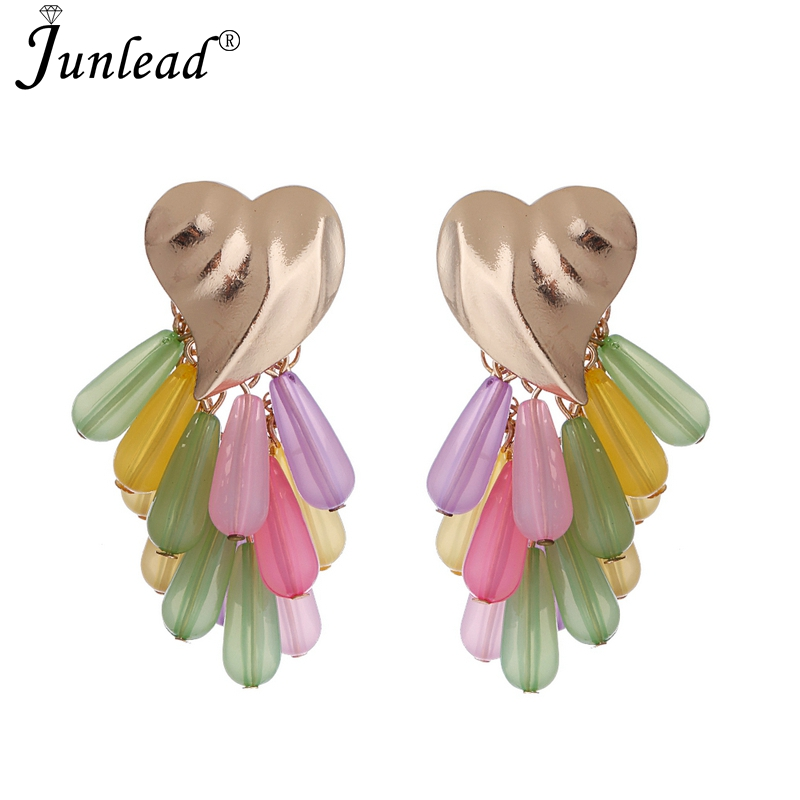 Jewelry & Accessories Forceful Junlead New Alloy Chain Fancy Grape Shaped Beaded Earrings Female Acrylic Red Drops Jewelry Heart Earring Hanging Geometric Boho Pure And Mild Flavor