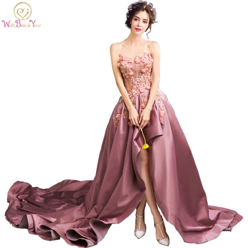 Walk Beside You Real Dark Purple Evening Dresses with Chapel Train Floral Lace applique Sequin Prom