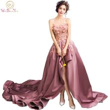 Walk Beside You Real Dark Purple Evening Dresses with Chapel Train Floral Lace applique Sequin Prom Dresses