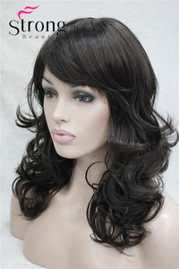 Image 2 - StrongBeauty Medium Length Wavy Dark Brown Full Synthetic Wig Womens Wigs COLOUR CHOICES