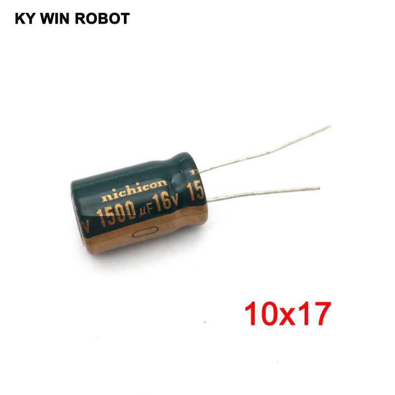 10pcs <font><b>1500UF</b></font> <font><b>16V</b></font> 10x17mm 105C Radial High-frequency low resistance Electrolytic Capacitor image