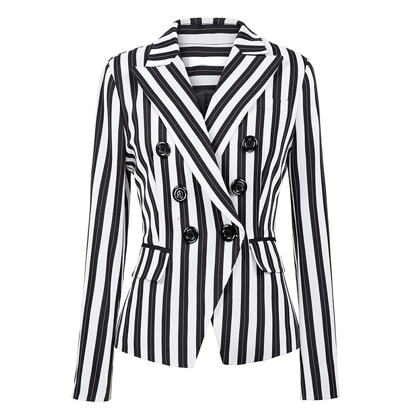EIJOQAN New Long Sleeves Black And White Stripes Suit Jacket Fashion Simplicity Double-breasted Notched Women's Wear A276