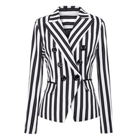EIJOQAN New Long sleeves Black and white stripes Suit jacket fashion Simplicity Double breasted Notched Women's wear A276