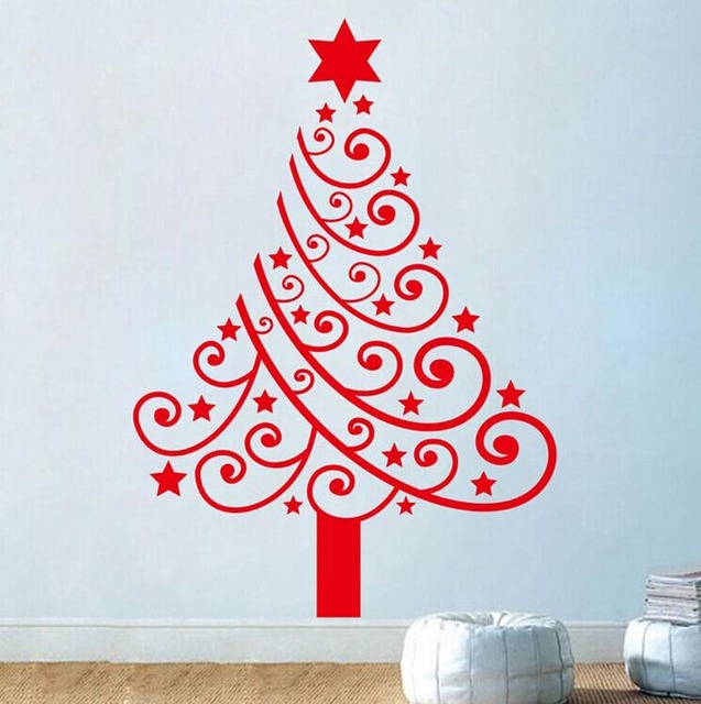 Diy gift merry christmas tree wall stickers vinyl wall decals christmas festival christmas tree wall stickers