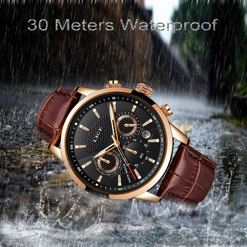 Image 5 - LIGE Mens Watches Top Brand Luxury Leather Casual Quartz Watch Men Military Sport Waterproof Clock Gold Watch Relogio Masculino-in Quartz Watches from Watches