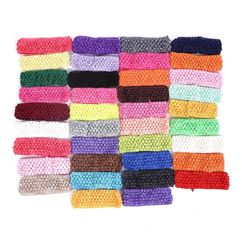( 6 pcs/lot) width baby crochet elastic headband crochet 38 colors High Quality 5*15CM Hair For Kids Girl Hair Accessories y2426