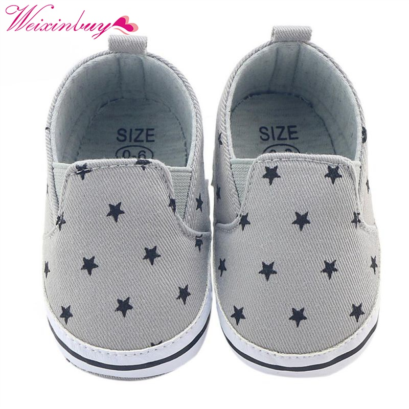 Spring and Autumn Gray Print Baby Canvas Shoes Baby Boy Girl Baby Soft Bottom Anti-skid Casual Footwear 0-12M