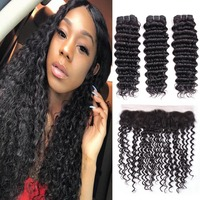 Brazilian Deep Wave Human Hair 2/3 Bundles with Ear to Ear Closure Deep Curly 13x4 Lace Frontal Closure with Bundles