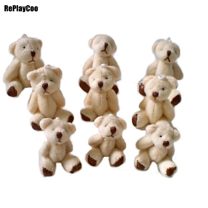 100pcs lot Kawaii Small Joint Teddy Bears Stuffed Plush 6 5CM Toy Teddy Bear Mini Bear