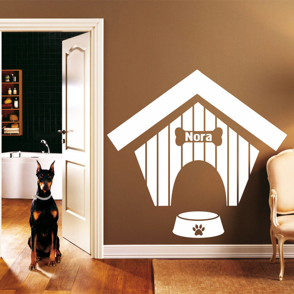 Personalized Dog Name Wall Decal Dog House Pattern Dog Bones