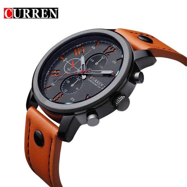 2016 CURREN Marca Hombres Reloj Militar Moda Deportes de Cuarzo Resistente Al Agua Correa de Cuero de Lujo de Pulsera del relogio masculino 8192