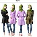 2017 Musulmán Blusas Camisas de Vestir Top Real Adulto Poliéster Ninguno de Largo de Las nuevas Mujeres Camisa Grande Con Un Oriente medio Pavo Con Cinturón