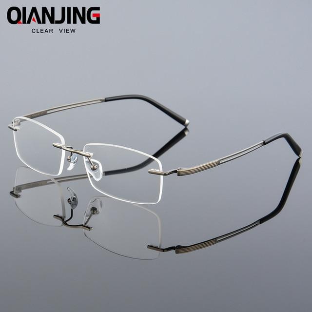 9c61cff904 2018 QIANJING New Rimless Glasses memory titanium flexible men s eyeglasses  glasses prescription spectacle optical frame 630
