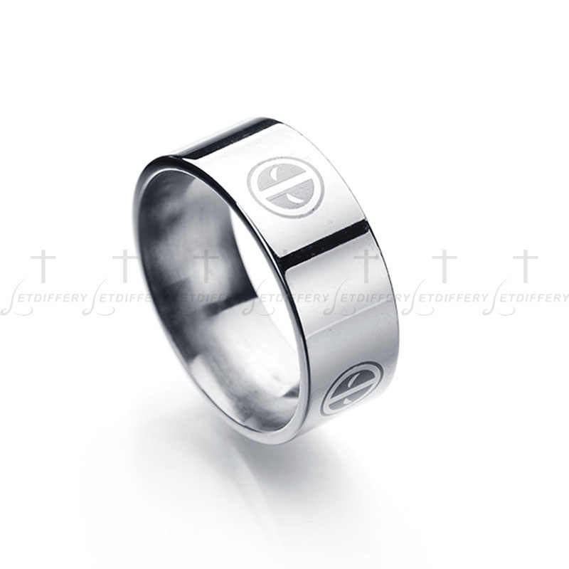 Letdiffery 8 mm Stainless Steel Deadpool Logo For Men Fans Souvenir Three Colors Band Ring Party Gift Drop Shipping