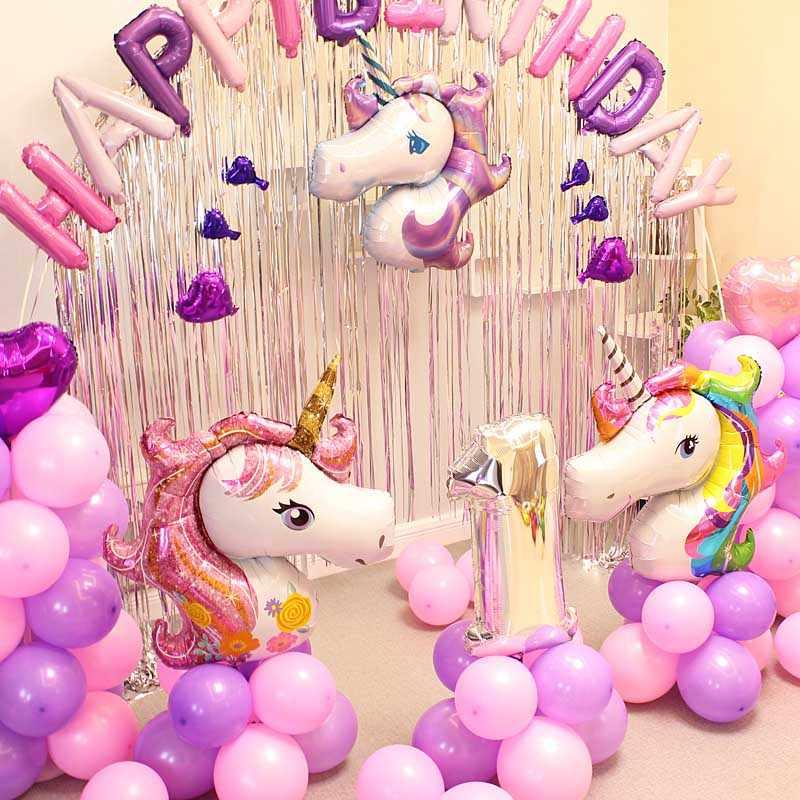 Grandi Unicorno Partito Palloncino Buon Compleanno Decorazioni Aerostati della Stagnola Della Decorazione Grande Rosa Arcobaleno Viola Del Bambino Della Ragazza Della Principessa Giocattoli Balon