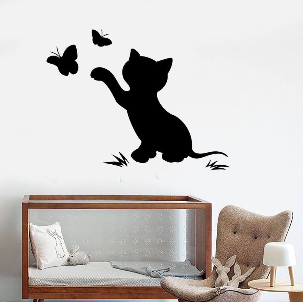 Wall stickers cat - Baby Girl Nursery Wall Decals Cat Kitten Butterfly Nontoxic Pvc Material Wall Stickers For Child Room