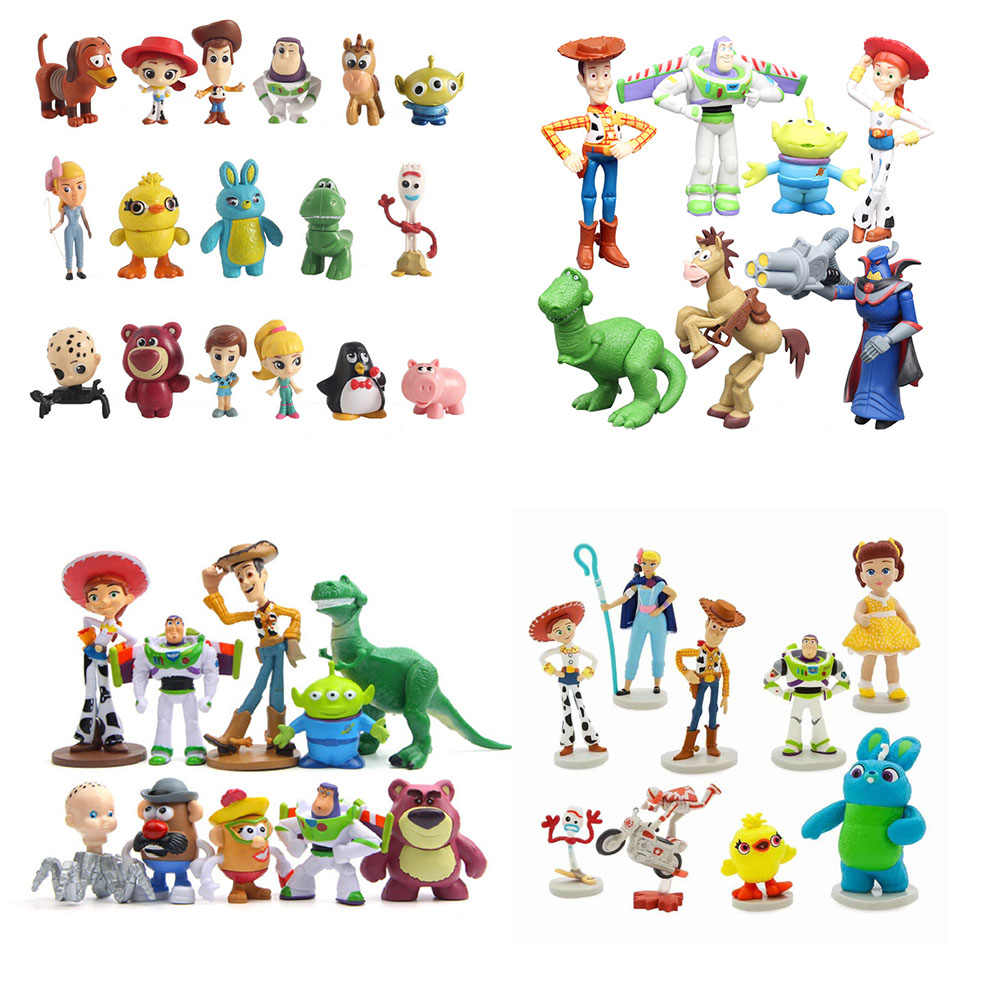 4 Brinquedos Dos Desenhos Animados do filme Toy Story Woody Buzz Lightyear Jessie Forky Action Figure collectible Dolls 3 pcs/6 pcs /7 pcs/9 pcs/10 pcs/17 pcs