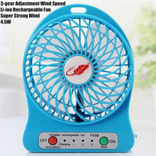 4″ MINI USB LED Portable Office Desktop Game Fan,4.5W 3-gear Adjustment Wind Speed Li-ion Rechargeable Fan,Super Strong Wind