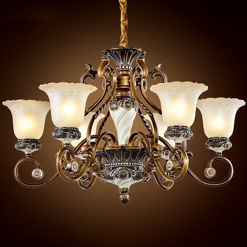 New Classical Luxury resin engraving chandelier living room dining room European style retro art white Chandelier engraving art 33 22