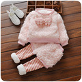 Conjuntos de roupas da menina da criança boutique crianças o-pescoço faux fur gato dos desenhos animados manga longa casaco rosa e patckwork saia listrada legging