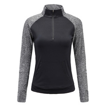 MAIJION Quick Dry Zipper Yoga Shirts, Women Elastic Long Sleeve Sport Tops, Fitness Running Shirts Tops Breathable Tracksuit