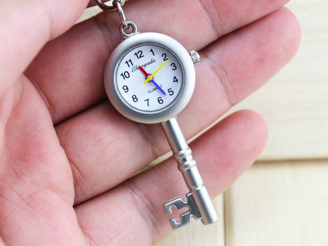 Hot Selling key chain Pendant Necklace Keychain Quartz Pocket Watch Mens Womens