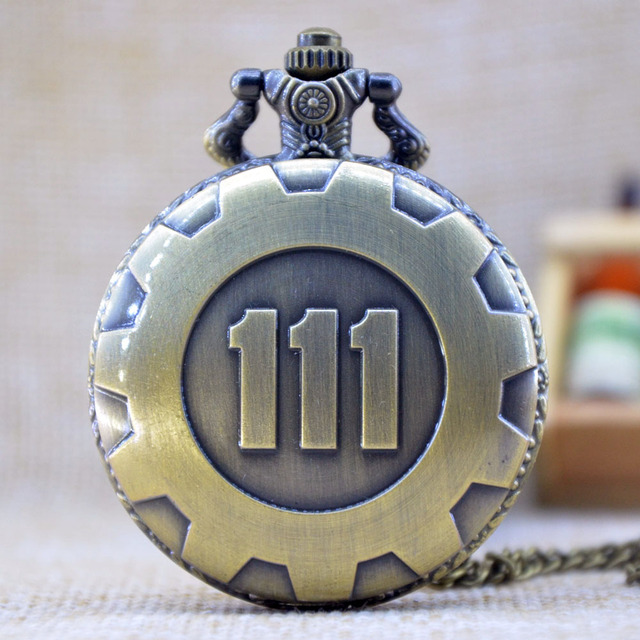 New Fashion Silver Gold Game Fallout 4 Vault 111 Quartz Pocket Watch Analog Pend