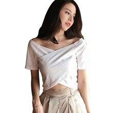 Women Sexy V Neck Short Sleeve T-Shirt Summer Solid Crisscross T Shirt Top Harajuku Cute Casual Slim Basic Lady Tee T Shirts Top